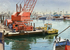 Los Angeles Harbor, California art by John Bohnenberger. HD giclee art prints for sale at CaliforniaWatercolor.com - original California paintings, & premium giclee prints for sale
