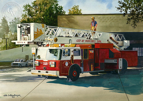 Monterey Park Fire Engine, California art by John Bohnenberger. HD giclee art prints for sale at CaliforniaWatercolor.com - original California paintings, & premium giclee prints for sale