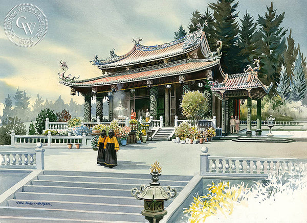 Pagoda, a California Watercolor painting by John Bohnenberger. HD giclee art prints for sale at CaliforniaWatercolor.com - original California paintings, & premium giclee prints for sale