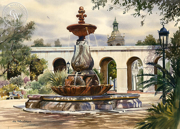 Pasadena City Hall Fountain, a California Watercolor painting by John Bohnenberger. HD giclee art prints for sale at CaliforniaWatercolor.com - original California paintings, & premium giclee prints for sale