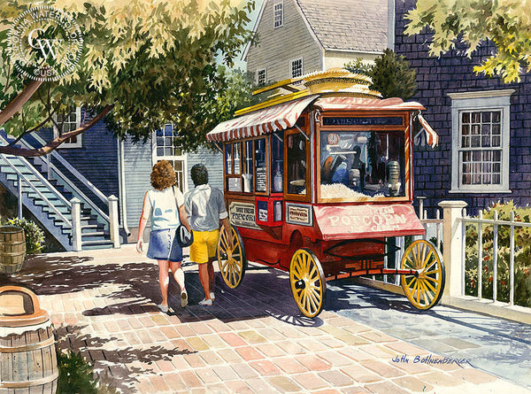 Popcorn Wagon, California watercolor painting by John Bohnenberger. HD giclee art prints for sale at CaliforniaWatercolor.com - original California paintings, & premium giclee prints for sale