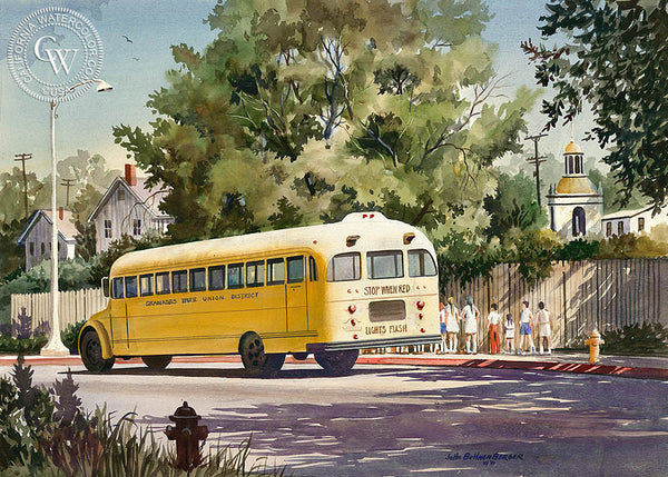 School Days, California art by John Bohnenberger. HD giclee art prints for sale at CaliforniaWatercolor.com - original California paintings, & premium giclee prints for sale