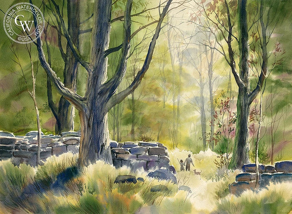Walk in the Park, California art by John Bohnenberger. HD giclee art prints for sale at CaliforniaWatercolor.com - original California paintings, & premium giclee prints for sale