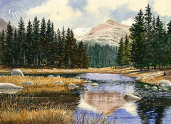 Stepping Stones, a California Watercolor painting by John Bohnenberger. HD giclee art prints for sale at CaliforniaWatercolor.com - original California paintings, & premium giclee prints for sale