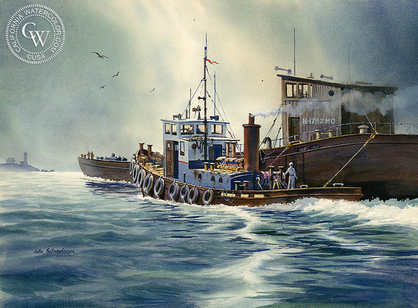 The Great Tug, California art by John Bohnenberger. HD giclee art prints for sale at CaliforniaWatercolor.com - original California paintings, & premium giclee prints for sale