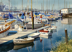 The Marina, California art by John Bohnenberger. HD giclee art prints for sale at CaliforniaWatercolor.com - original California paintings, & premium giclee prints for sale