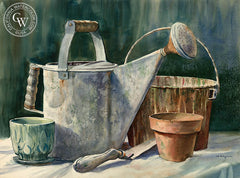 The Watering Can, California art by John Bohnenberger. HD giclee art prints for sale at CaliforniaWatercolor.com - original California paintings, & premium giclee prints for sale