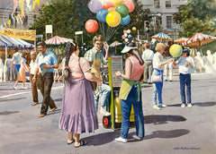 Balloon Vendor, California art by John Bohnenberger. HD giclee art prints for sale at CaliforniaWatercolor.com - original California paintings, & premium giclee prints for sale