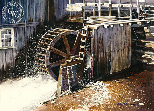 Water Wheel, California art by John Bohnenberger. HD giclee art prints for sale at CaliforniaWatercolor.com - original California paintings, & premium giclee prints for sale