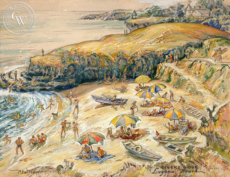 Divers Cove, Laguna Beach, art by John Britton Matthew