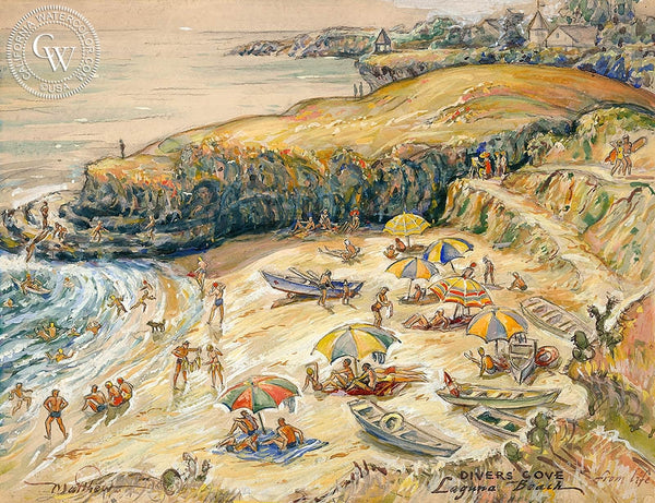 Divers Cove, Laguna Beach, California art by John Britton Matthew. HD giclee art prints for sale at CaliforniaWatercolor.com - original California paintings, & premium giclee prints for sale
