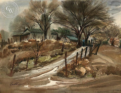 Farm Scene, California art by John Coakley. HD giclee art prints for sale at CaliforniaWatercolor.com - original California paintings, & premium giclee prints for sale
