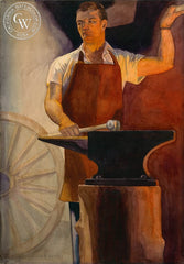The Blacksmith, California art by John B. Munroe. HD giclee art prints for sale at CaliforniaWatercolor.com - original California paintings, & premium giclee prints for sale