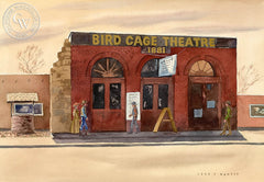 Bird Cage Theatre, Tombstone, Arizona, California art by John B. Munroe. HD giclee art prints for sale at CaliforniaWatercolor.com - original California paintings, & premium giclee prints for sale