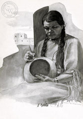 Indian Woman, California art by John B. Munroe. HD giclee art prints for sale at CaliforniaWatercolor.com - original California paintings, & premium giclee prints for sale