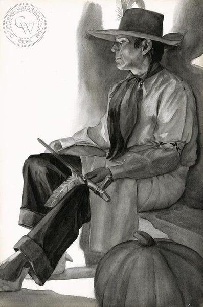 Indian Man, California art by John B. Munroe. HD giclee art prints for sale at CaliforniaWatercolor.com - original California paintings, & premium giclee prints for sale