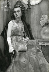 Lady with Purse, 1937, California art by John B. Munroe. HD giclee art prints for sale at CaliforniaWatercolor.com - original California paintings, & premium giclee prints for sale