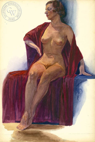 Nude, California art by John B. Munroe. HD giclee art prints for sale at CaliforniaWatercolor.com - original California paintings, & premium giclee prints for sale