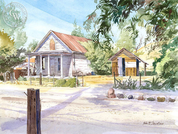 Old House, California art by John Norman Stewart. HD giclee art prints for sale at CaliforniaWatercolor.com - original California paintings, & premium giclee prints for sale