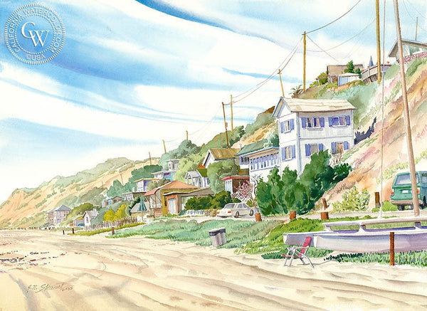 Aliso Beach, Laguna Beach, California art by John Norman Stewart. HD giclee art prints for sale at CaliforniaWatercolor.com - original California paintings, & premium giclee prints for sale