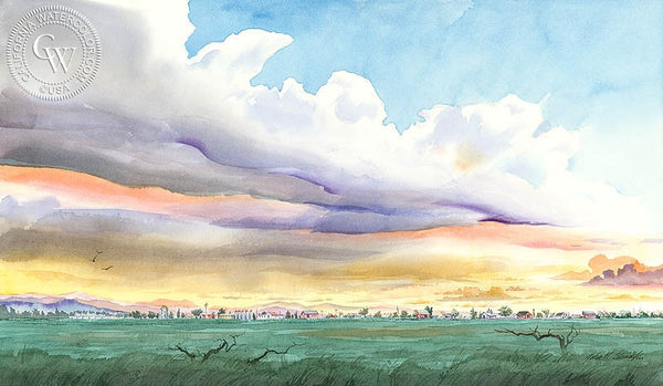 Farmlands, California art by John Norman Stewart. HD giclee art prints for sale at CaliforniaWatercolor.com - original California paintings, & premium giclee prints for sale