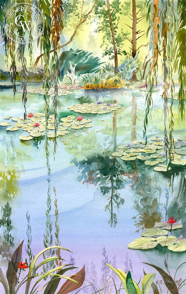 Monet's Water Lilies, California art by John Norman Stewart. HD giclee art prints for sale at CaliforniaWatercolor.com - original California paintings, & premium giclee prints for sale