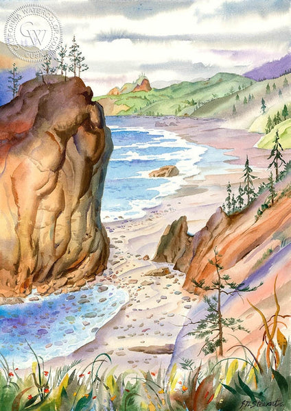 Oregon Coast 4, California art by John Norman Stewart. HD giclee art prints for sale at CaliforniaWatercolor.com - original California paintings, & premium giclee prints for sale