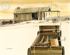 Wagon at White Sands, California art by John Norman Stewart. HD giclee art prints for sale at CaliforniaWatercolor.com - original California paintings, & premium giclee prints for sale