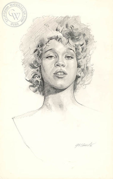 Whitney Houston, from the Bodyguard Film, California art by John Norman Stewart. HD giclee art prints for sale at CaliforniaWatercolor.com - original California paintings, & premium giclee prints for sale