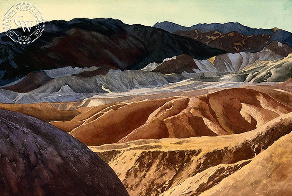 Dawn at Zabriskie Point, Death Valley, California art by Joseph Emil Morhardt. HD giclee art prints for sale at CaliforniaWatercolor.com - original California paintings, & premium giclee prints for sale