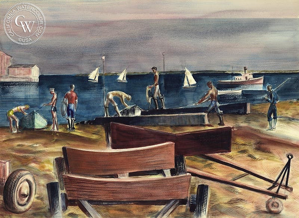 Boat Ramp, California art by Joseph Knowles. HD giclee art prints for sale at CaliforniaWatercolor.com - original California paintings, & premium giclee prints for sale