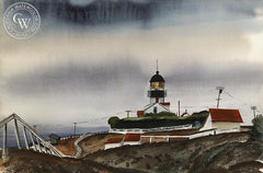 The Lighthouse, 1946, California art by Joseph Knowles. HD giclee art prints for sale at CaliforniaWatercolor.com - original California paintings, & premium giclee prints for sale