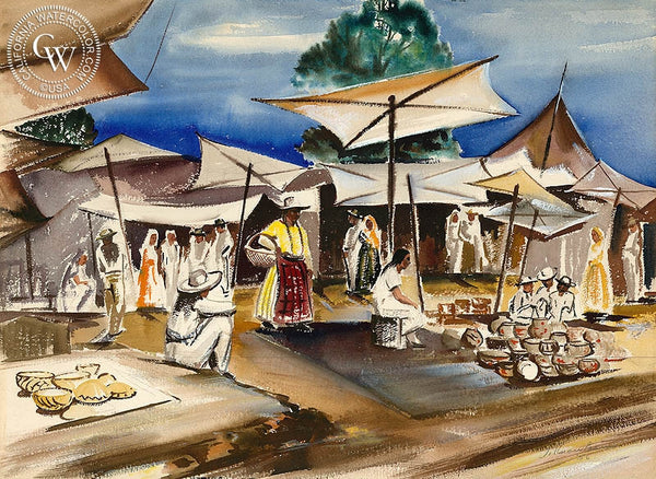 Mexican Market, 1956, California art by Joseph Knowles. HD giclee art prints for sale at CaliforniaWatercolor.com - original California paintings, & premium giclee prints for sale