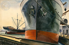 Stevedores, c. 1940's, California art by Joseph Knowles. HD giclee art prints for sale at CaliforniaWatercolor.com - original California paintings, & premium giclee prints for sale