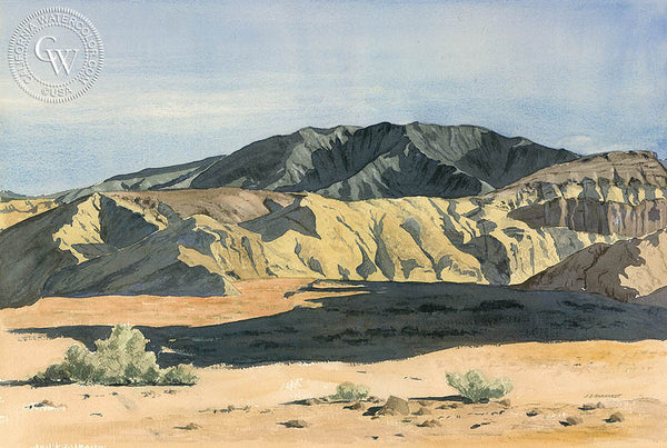 Near Furnace Creek, Death Valley, California art by Joseph Emil Morhardt. HD giclee art prints for sale at CaliforniaWatercolor.com - original California paintings, & premium giclee prints for sale