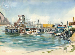 Morro Bay California, California art by Joseph O'Malley. HD giclee art prints for sale at CaliforniaWatercolor.com - original California paintings, & premium giclee prints for sale