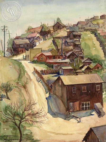 Bunker Hill, 1933, California art by Joseph Weisman. HD giclee art prints for sale at CaliforniaWatercolor.com - original California paintings, & premium giclee prints for sale