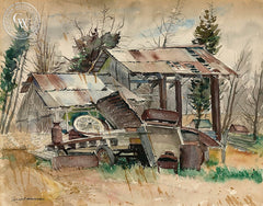Junkyard, California art by Joseph Weisman. HD giclee art prints for sale at CaliforniaWatercolor.com - original California paintings, & premium giclee prints for sale