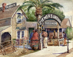 Ziemer's Antiques, 1935, California art by Joseph Weisman. HD giclee art prints for sale at CaliforniaWatercolor.com - original California paintings, & premium giclee prints for sale