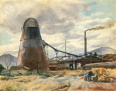The Saw Mill, Azusa, 1946, California art by Jules Rauschert. HD giclee art prints for sale at CaliforniaWatercolor.com - original California paintings, & premium giclee prints for sale