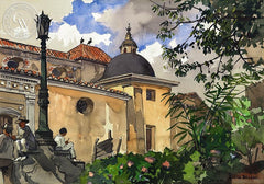 Church in Caracas, c. 1920's, California art by Julius Delbos. HD giclee art prints for sale at CaliforniaWatercolor.com - original California paintings, & premium giclee prints for sale
