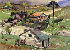 Farmlands, c. 1920's, California art by Julius Delbos. HD giclee art prints for sale at CaliforniaWatercolor.com - original California paintings, & premium giclee prints for sale