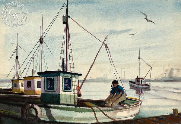 Charles Keck - Resting After the Catch, c. 1940's, California art, original California watercolor art for sale - CaliforniaWatercolor.com