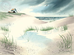 Beach House, California art by Ken Decker. HD giclee art prints for sale at CaliforniaWatercolor.com - original California paintings, & premium giclee prints for sale