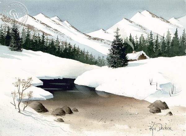 Cabin by the Creek, California art by Ken Decker. HD giclee art prints for sale at CaliforniaWatercolor.com - original California paintings, & premium giclee prints for sale