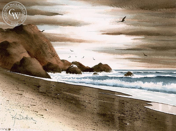 Evening at the Beach, California art by Ken Decker. HD giclee art prints for sale at CaliforniaWatercolor.com - original California paintings, & premium giclee prints for sale