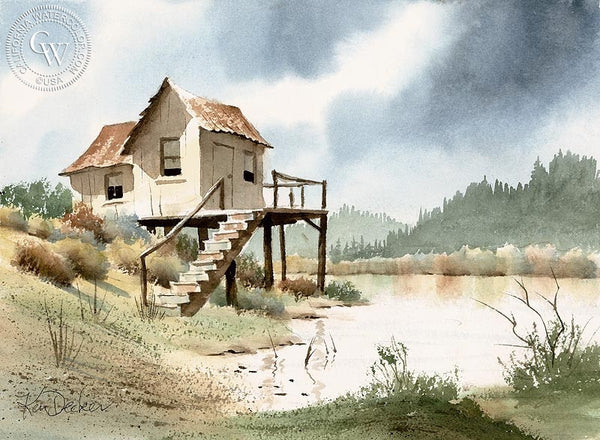 On the Lake, California art by Ken Decker. HD giclee art prints for sale at CaliforniaWatercolor.com - original California paintings, & premium giclee prints for sale
