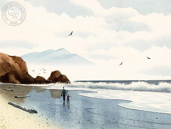 Walk on the Beach, California art by Ken Decker. HD giclee art prints for sale at CaliforniaWatercolor.com - original California paintings, & premium giclee prints for sale