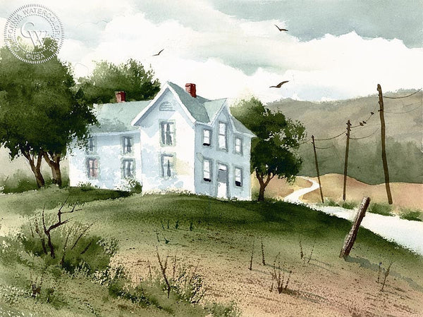 White House, California art by Ken Decker. HD giclee art prints for sale at CaliforniaWatercolor.com - original California paintings, & premium giclee prints for sale