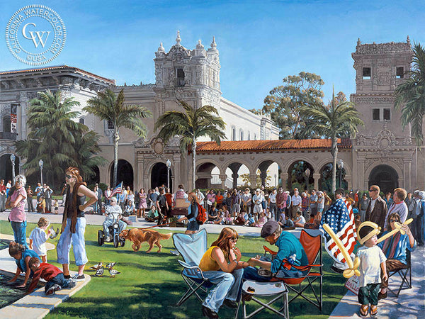 A Day at the Prado, a California oil painting by Ken Goldman. HD giclee art prints for sale at CaliforniaWatercolor.com - original California paintings, & premium giclee prints for sale